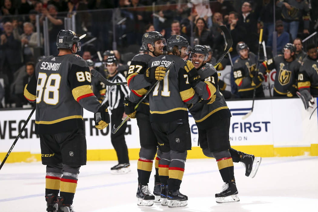 Vegas Golden Knights celebrate a goal by William Karlsson during the second period of an NHL hockey game between the Vegas Golden Knights and the Edmonton Oilers at T-Mobile Arena in Las Vegas, Sa ...