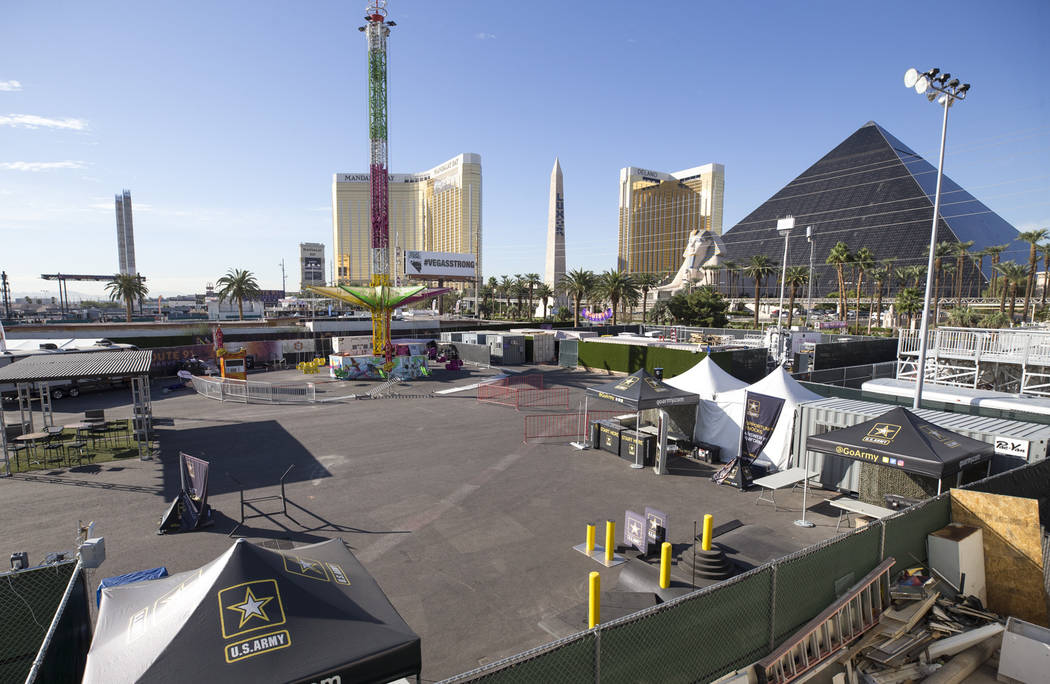 A Sky Flyer amusement ride and vendor booths sit frozen in time at the site of the Route 91 Harvest mass shooting at the Las Vegas Village festival grounds in Las Vegas. (Richard Brian/Las Vegas R ...