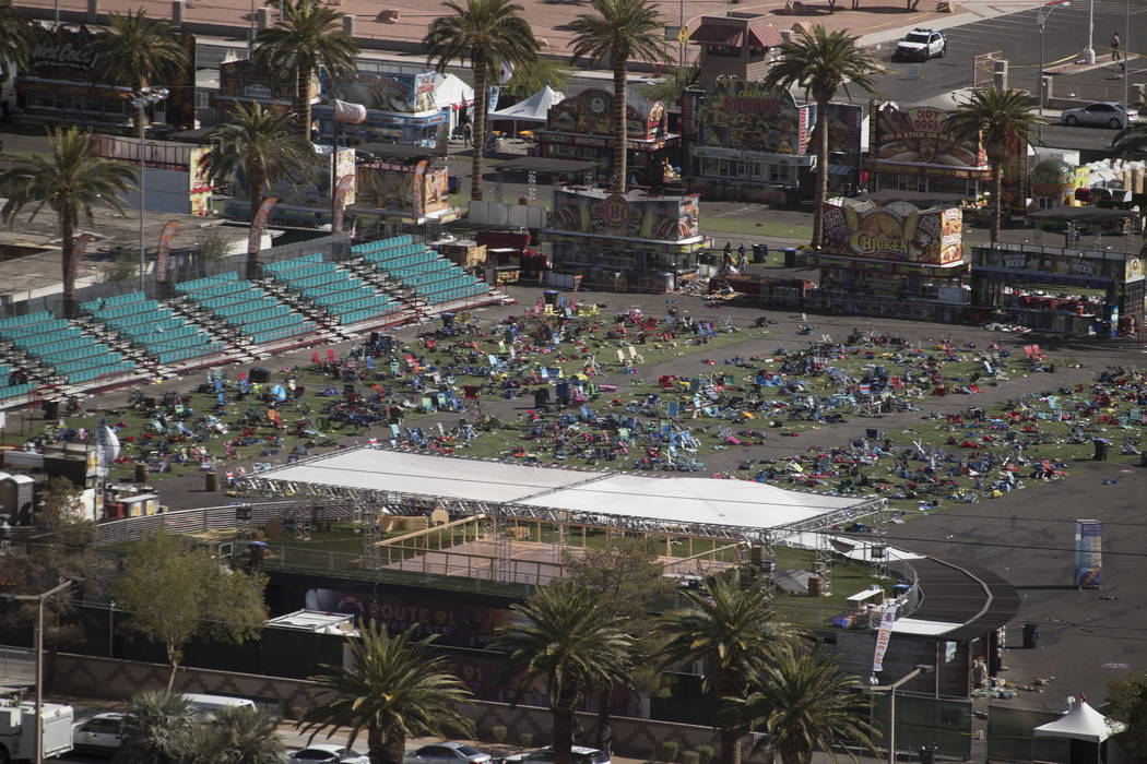 The Las Vegas Village festival grounds on the Las Vegas Strip, Monday, Oct. 2, 2017, after a gunman opened fire killing 58 and injuring more than 500 on Oct. 1. (Richard Brian/Las Vegas Review-Jou ...
