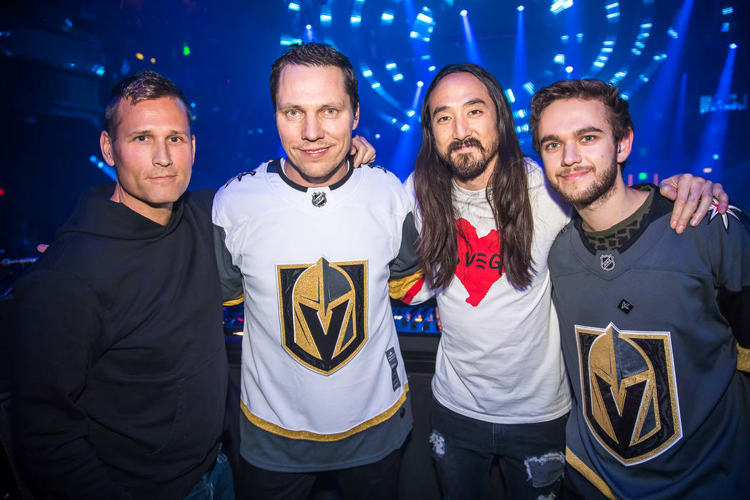 Star DJs, from left, Kaskade, Tiesto, Steve Aoki and Zedd are shown at Omnia Nightclub at Caesars Palace at the Benefit Concert to support the Las Vegas Victims Fund on Tuesday, Nov. 7, 2017. (Den ...
