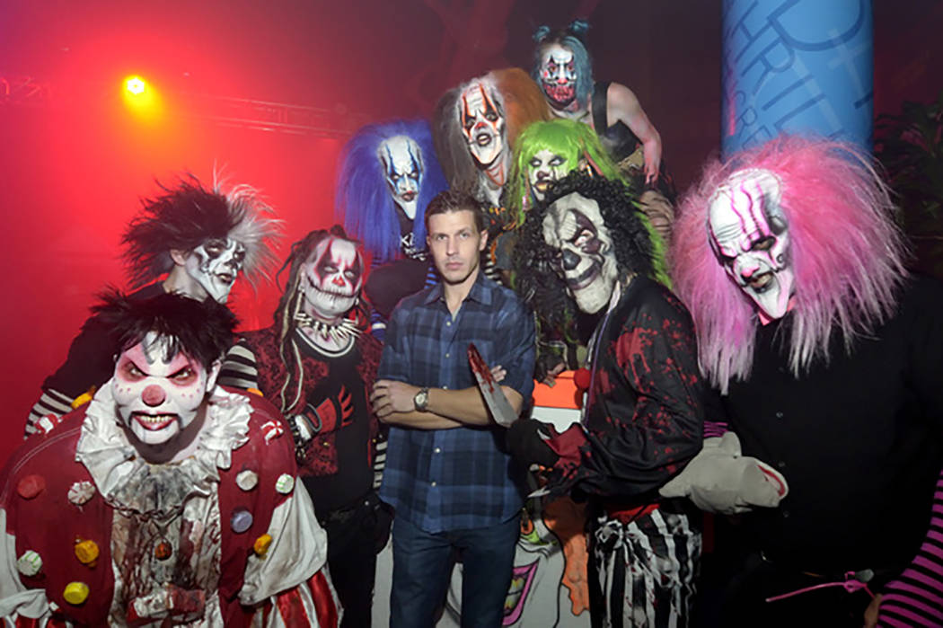 Jason Egan, owner of Fright Dome, center, is shown with some of the clowns at the haunted house in the Adventuredome at the Circus Circus hotel-casino on Sunday Oct. 16, 2016. (Bill Hughes/Las Veg ...
