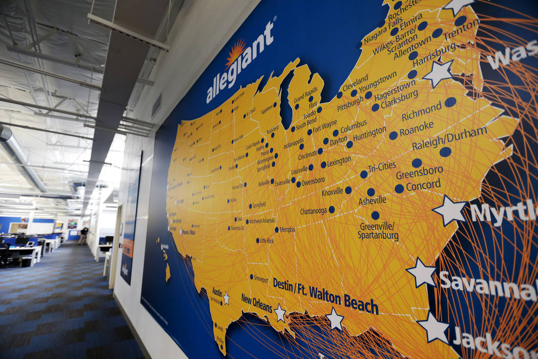 A map on the wall of Allegiant Air's routes as of March 2017 on Monday, Aug. 7, 2017, at the Allegiant Air corporate headquarters in Las Vegas. (Rachel Aston/Las Vegas Review-Journal) @rookie__rae
