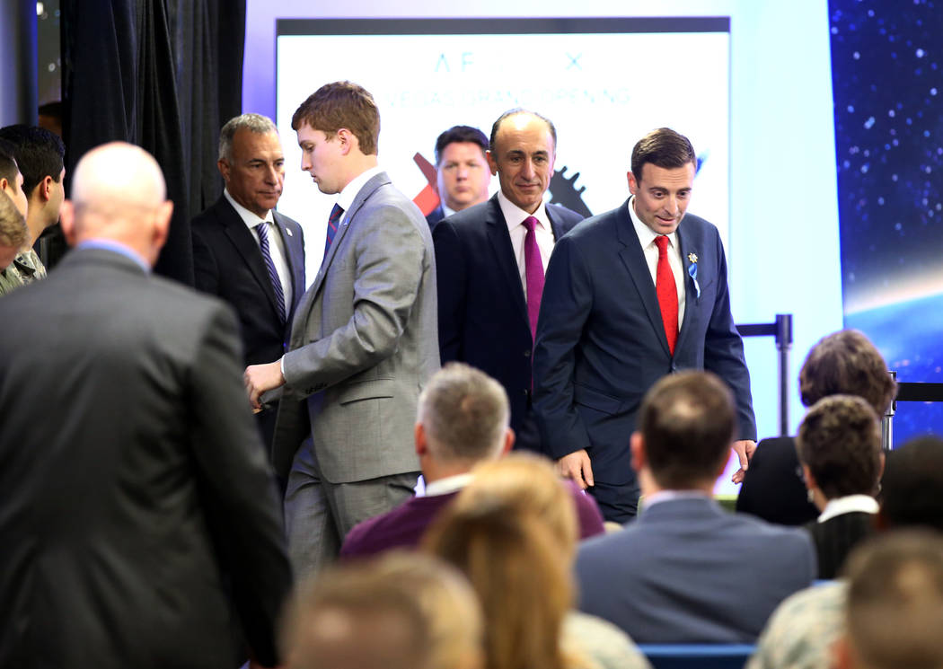 Nevada Attorney General Adam Laxalt arrives to hear Vice President Mike Pence speak at the grand opening of AFWERX Vegas, a work space for the Air Force program that fosters entrepreneurial innova ...
