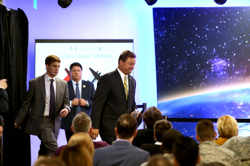 U.S. Sen. Dean Heller, R-Nev., arrives to hear Vice President Mike Pence speak at the grand opening of AFWERX Vegas, a work space for the Air Force program that fosters entrepreneurial innovation  ...