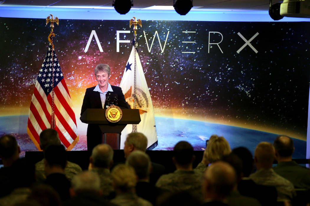 Secretary of the Air Force Heather introduces Vice President Mike Pence at the grand opening of AFWERX Vegas, a work space for the Air Force program that fosters entrepreneurial innovation engagem ...