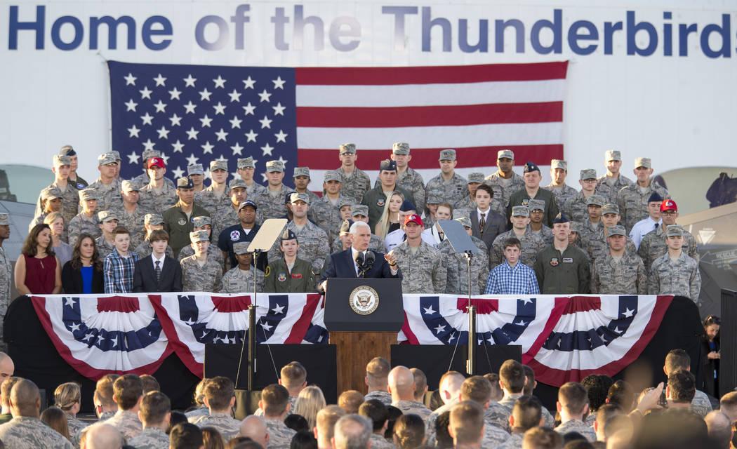 United States Vice President Mike Pence speaks to airmen during a visit to Nellis Air Force Base near Las Vegas, Nevada on Thursday, Jan. 11, 2018. Richard Brian Las Vegas Review-Journal @vegaspho ...