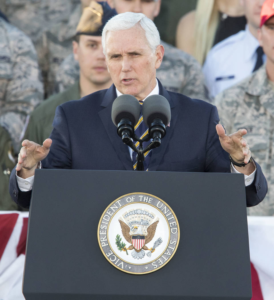 United States Vice President Mike Pence speaks to airmen outside the Thunderbirds hanger during a visit to Nellis Air Force Base near Las Vegas, Nevada on Thursday, Jan. 11, 2018. Richard Brian La ...