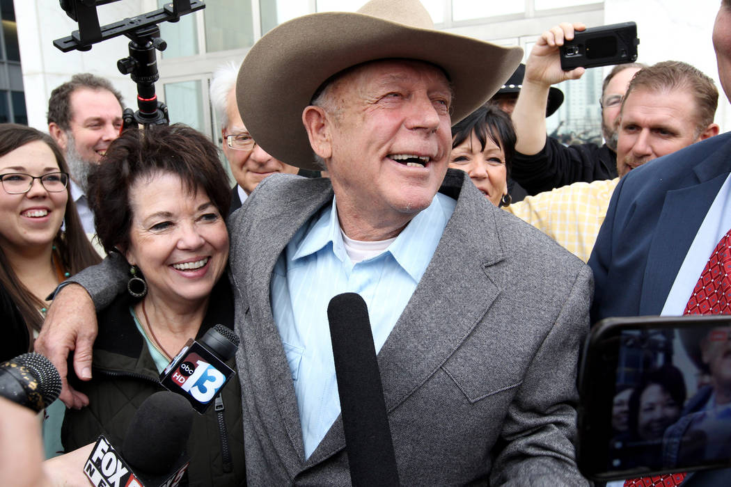 Cliven Bundy and his wife, Carol, talk to the news media after Cliven Bundy walked out of the Lloyd George U.S. Courthouse in Las Vegas a free man on Monday, Jan. 8, 2018. K.M. Cannon Las Vegas Re ...