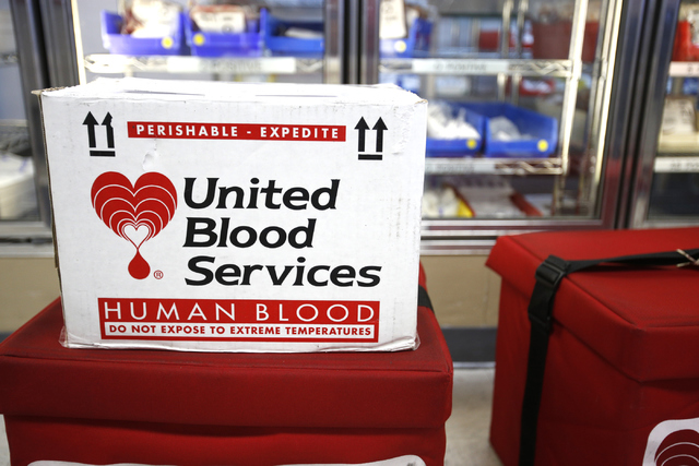 Donated blood is ready to be delivered at United Blood Services at 6930 W. Charleston Blvd., in Las Vegas on Monday, June 13, 2016. Richard Brian/Las Vegas Review-Journal