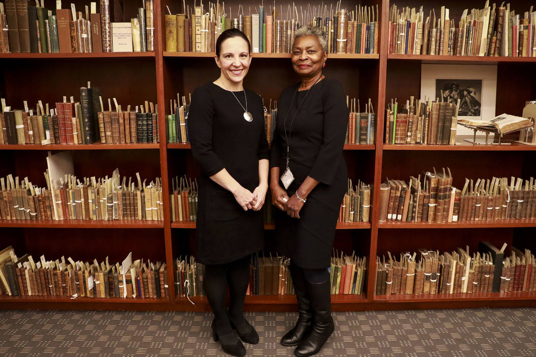 Michelle Light, director of Special Collections and Archives, and Claytee White, director of the Oral History Research Center, pose for a photograph at the Lied Library in Las Vegas, Jan. 12, 2018 ...