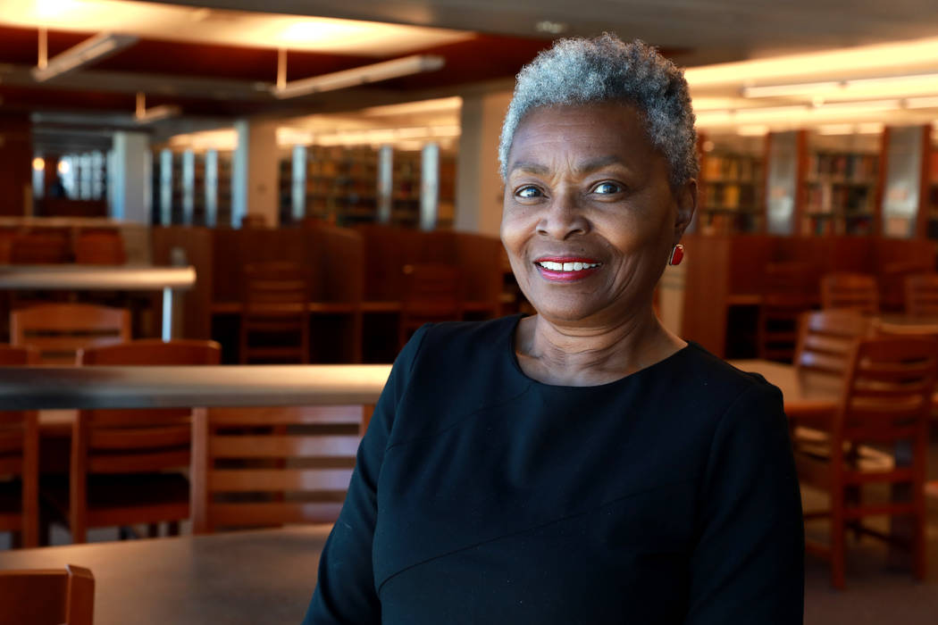 Claytee White, director of the Oral History Research Center, poses for a photograph at the Lied Library in Las Vegas, Jan. 12, 2018. UNLV Libraries received a grant from the National Endowment for ...