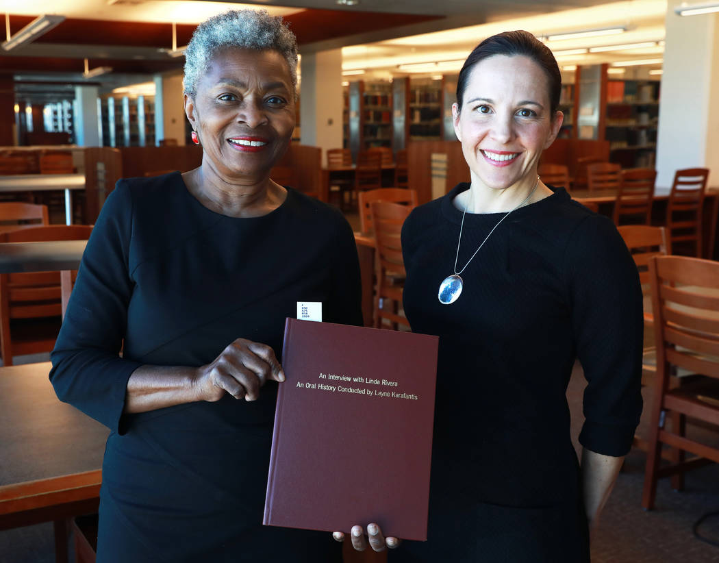 Claytee White, director of the Oral History Research Center, and Michelle Light, director of Special Collections and Archives, pose for a photograph at the Lied Library in Las Vegas, Jan. 12, 2018 ...