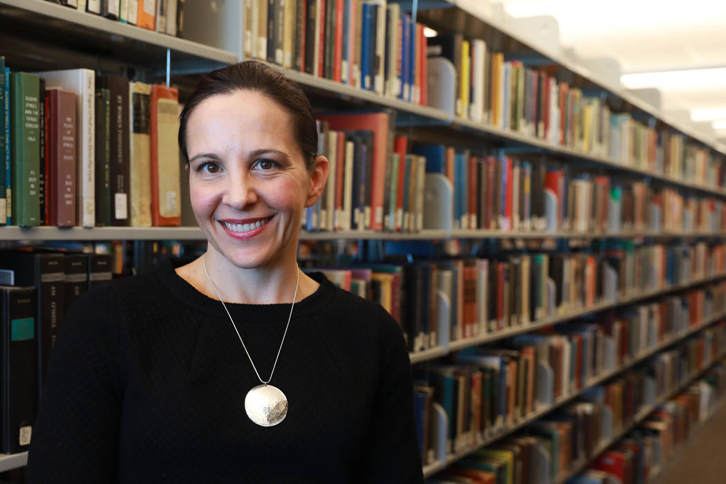 Michelle Light, director of Special Collections and Archives, poses for a photograph at the Lied Library in Las Vegas, Jan. 12, 2018. UNLV Libraries received a grant from the National Endowment fo ...