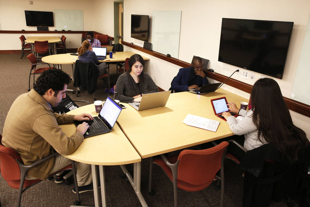 UNLV students work on their dissertations during a writing boot camp at Lied Library in Las Vegas, Jan. 12, 2018. Andrea Cornejo Las Vegas Review-Journal @dreacornejo