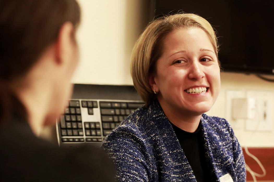 Valarie Burke, director of Graduate Student Services, talks with Vaneh Darakjian, director of Communications and Marketing, during a writing boot camp at Lied Library in Las Vegas, Jan. 12, 2018.  ...