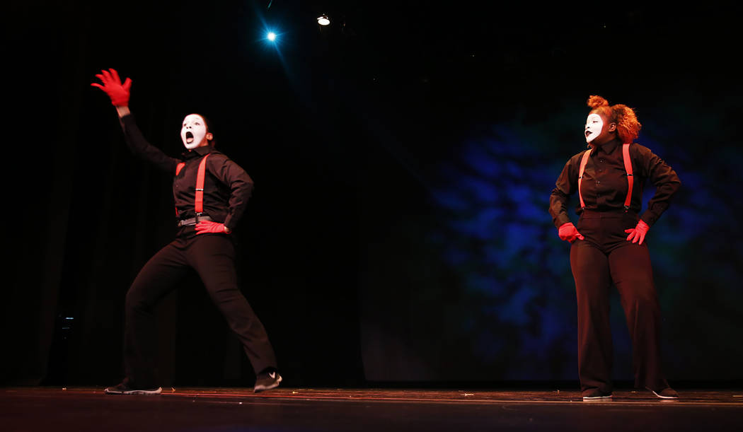 Mime artists perform during Peace Week 2018 at the West Las Vegas Library Theatre in Las Vegas, Jan. 14, 2018. The event celebrated the life and legacy of Dr. Martin Luther King, Jr. through histo ...