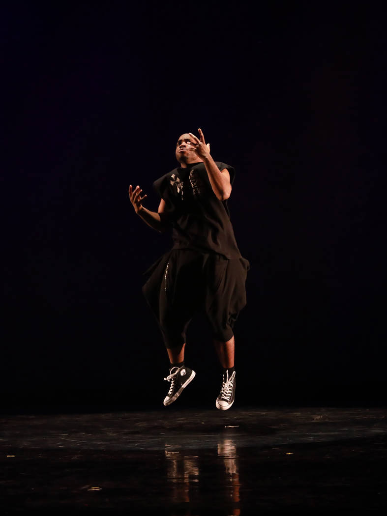 A dancer performs during Peace Week 2018 at the West Las Vegas Library Theatre in Las Vegas, Jan. 14, 2018. The event celebrated the life and legacy of Dr. Martin Luther King, Jr. through historic ...