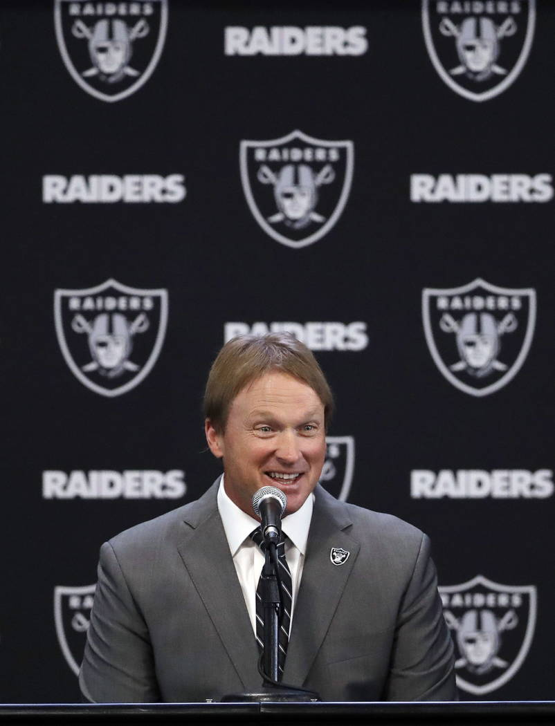 Oakland Raiders head coach Jon Gruden answers questions during an NFL football press conference Tuesday, Jan. 9, 2018, in Alameda, Calif. (AP Photo/Marcio Jose Sanchez)