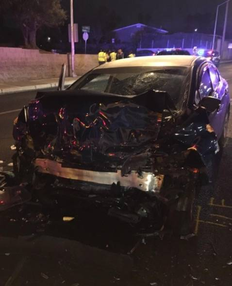 The driver of this black Honda crashed into the rear of a double-decker RTC bus on Tuesday night and was killed.