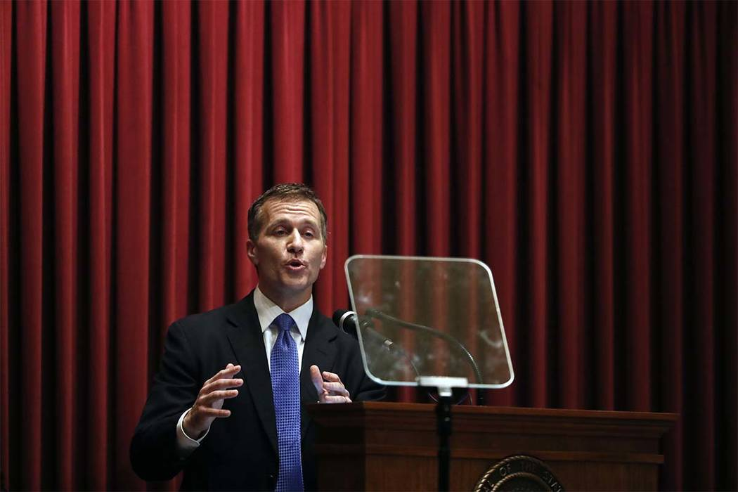 Missouri Gov. Eric Greitens delivers the annual State of the State address to a joint session of the House and Senate, in Jefferson City, Missouri. (Jeff Roberson/AP)