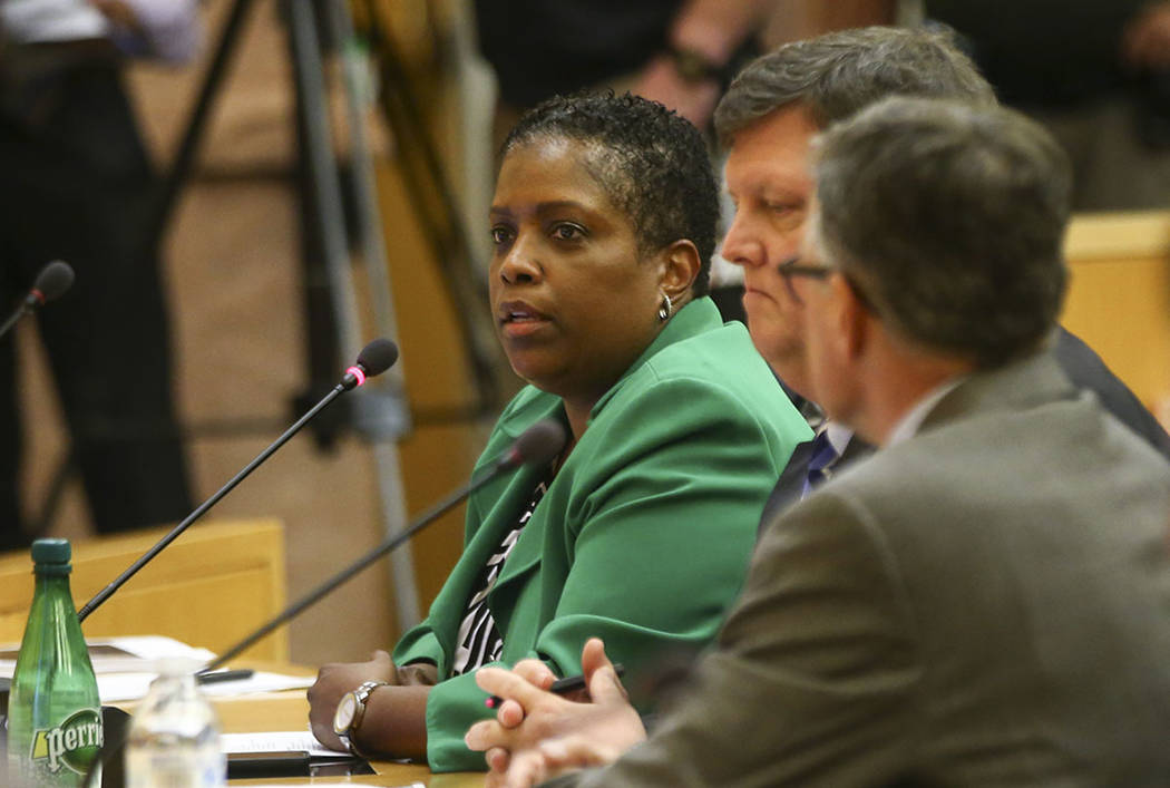 Lynn Littlejohn, director of community benefits for the stadium project, during a Las Vegas Stadium Authority board meeting at the Clark County Government Center in Las Vegas on Thursday, Aug. 17, ...