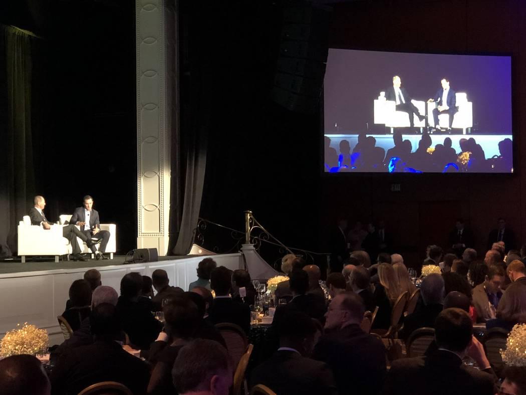 Consumer Technology Association Chief Executive Officer Gary Shapiro speaks with Lyft Co-Founder John Zimmer at Wynn Las Vegas on Wednesday, Jan. 10. Todd Prince/Las Vegas Review-Journal