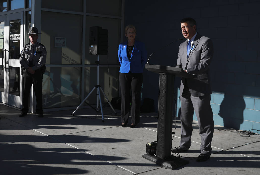Gov. Brian Sandoval announces the Nevada Department of Motor Vehicles' partnership with the Department of Homeland Security's Blue Campaign to raise awareness for human trafficking at the Nevada D ...