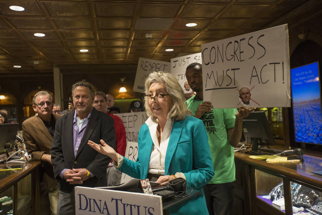 U.S. Rep. Dina Titus, D-Nev., speaks to the press  in response to Jeff Sessions' move to lift an Obama-era policy that provided protections that allowed marijuana businesses to flourish in state-r ...