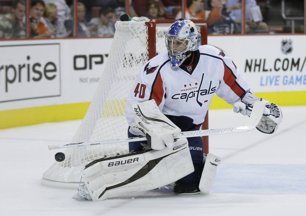 In this Sept. 16, 2013, file photo, Washington Capitals' David Leggio is shown during a preseason NHL hockey game against the Philadelphia Flyers, in Philadelphia. USA Hockey named David Leggio an ...