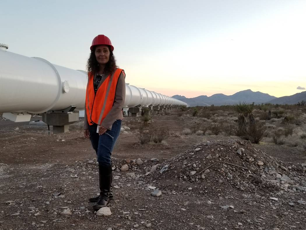Anita Sengupta, Virgin Hyperloop One senior vice president of systems engineering, explains the science behind her employer's experimental mode of transportation on Wednesday, Jan. 10, 2018. If su ...