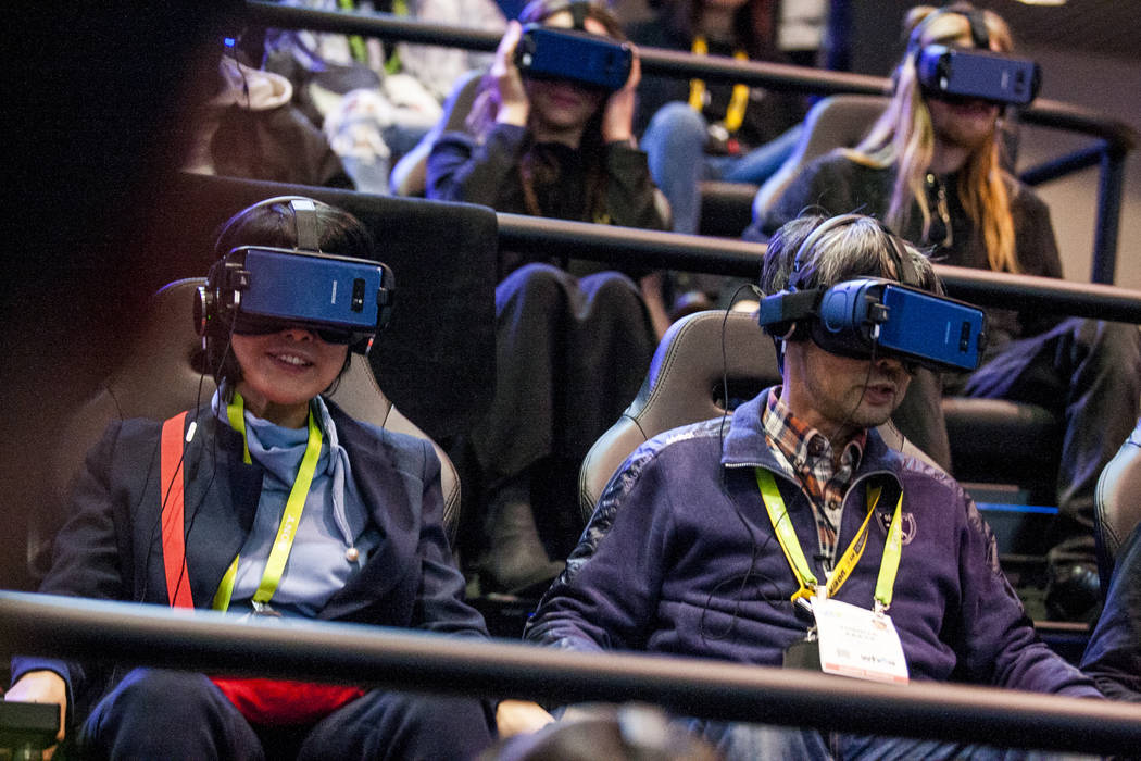 CES attendees try a Samsung virtual reality ride at CES in the Las Vegas Convention Center on Thursday, Jan. 11, 2018. Patrick Connolly Las Vegas Review-Journal @PConnPie