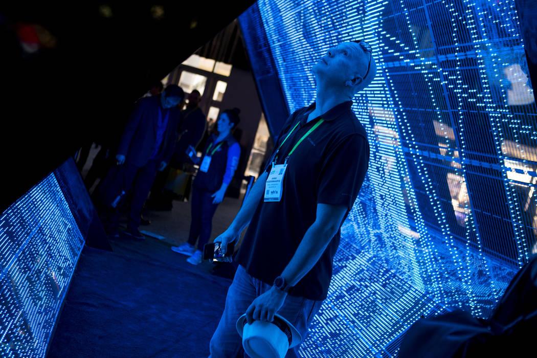 Haris Hadziosmanovic of Hillsboro, Oregon, walks through an Intel exhibit at CES in the Las Vegas Convention Center on Thursday, Jan. 11, 2018. Patrick Connolly Las Vegas Review-Journal @PConnPie