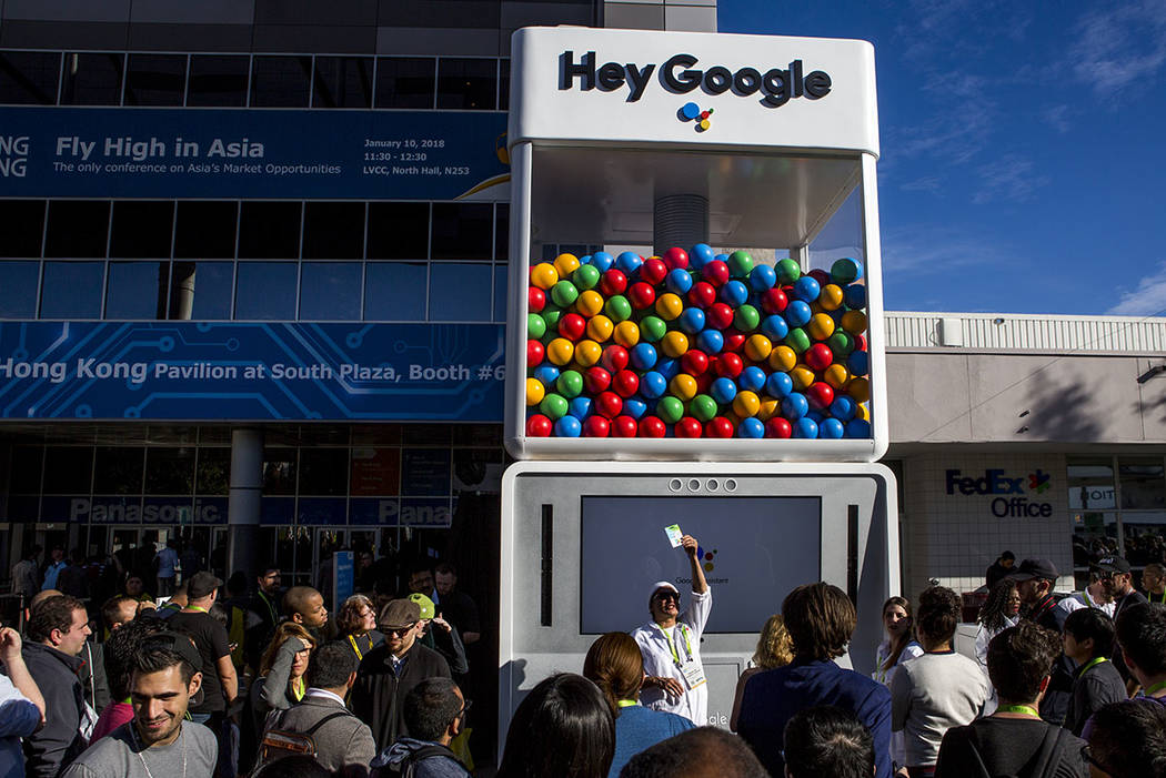 CES attendees wait for the chance to win a prize from a Hey Google booth outside of the Las Vegas Convention Center at CES on Thursday, Jan. 11, 2018. Patrick Connolly Las Vegas Review-Journal @PC ...