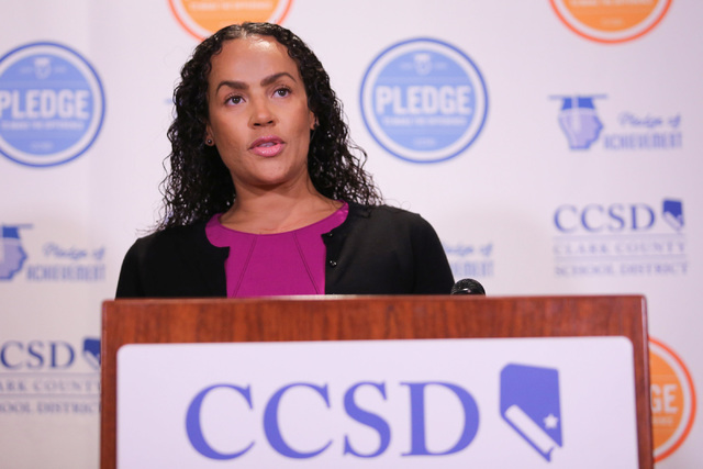 Clark County School District Spokeswoman Melinda Malone answers questions during a press conference at CCSD headquarters in Las Vegas on Thursday, Sept. 8, 2016, about the mercury contamination at ...