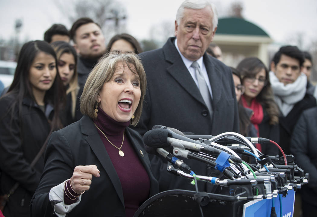 "Hispanic Caucus Chair Rep. Michelle Lujan Grisham, D-N.M., joined at right by House Minority Whip Steny Hoyer, D-Md., gives her support to ""dreamers,"" people brought to the U.S.  ..."