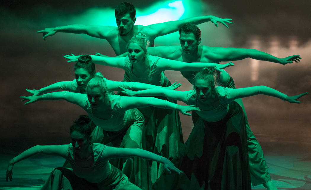 Dancers perform during a dress rehearsal in preparation for the 10th annual Choreographers' Showcase in the Mystere Theatre at Treasure Island, Friday, Oct. 6, 2017, in Las Vegas. Richard Brian La ...