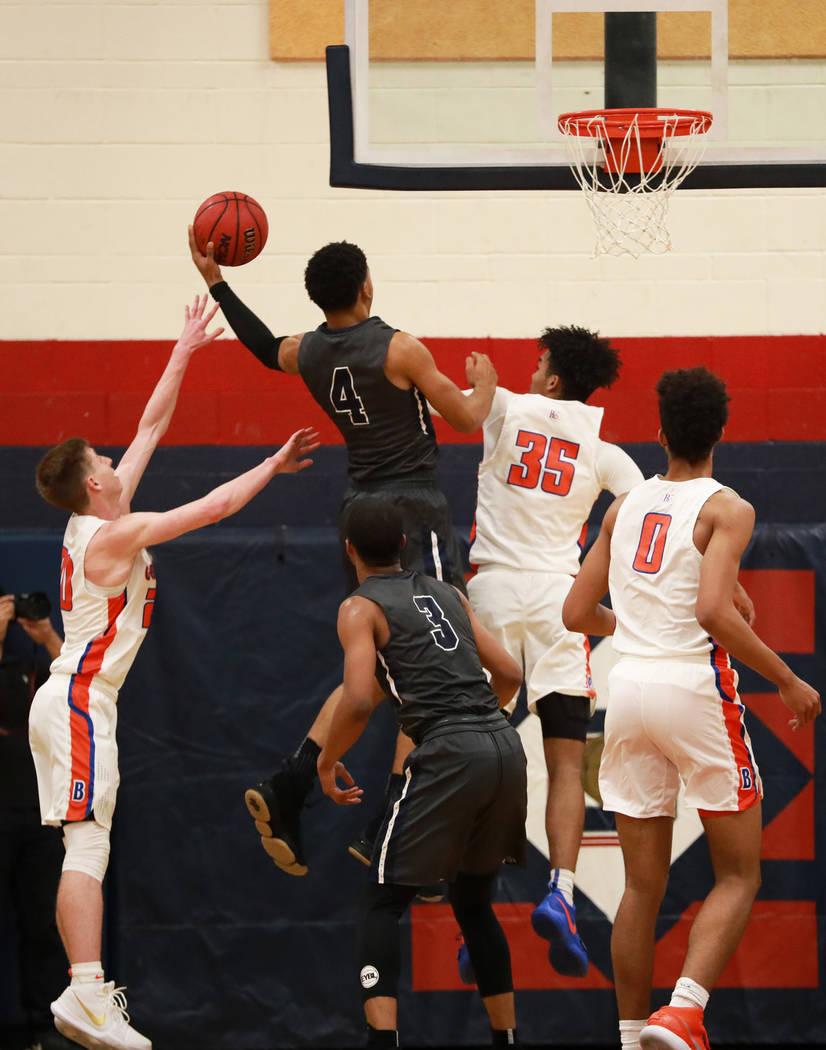 Sierra Canyon's Kenyon Martin Jr. throws the ball in the boys basketball game against Bishop Gorman at Coronado High School in Las Vegas, Jan. 15, 2018. Bishop Gorman won 82-80. Andrea Cornejo Las ...