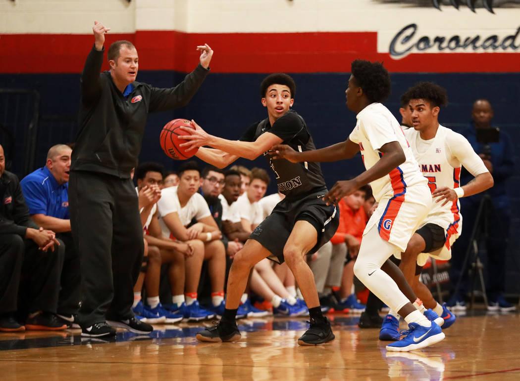 Sierra Canyon's Scotty Pippen Jr. defends the ball from Bishop Gorman in the boys basketball game at Coronado High School in Las Vegas, Jan. 15, 2018. Gorman won 82-80. Andrea Cornejo Las Vegas Re ...