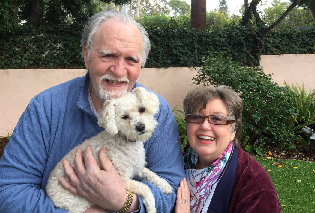 This January 2017, photo provided by Kelly Weimer, shows Jim Mitchell, 89, with his wife, Alice Mitchell, 78, and their dog, Gigi. The Mitchell's and their dog have been missing since Tuesday, Jan ...