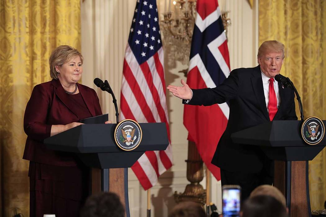 President Donald Trump speaks during a joint news conference on Wednesday with Norwegian Prime Minister Erna Solberg in the East Room of the White House in Washington. (Manuel Balce Ceneta/AP)