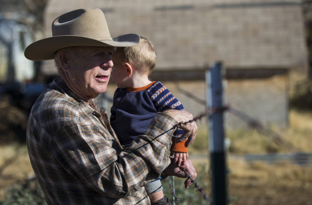Cliven Bundy with his grandson LaVoy at Bundy Ranch in Bunkerville on Thursday, Jan. 11, 2018. Bundy was released from federal custody after charges against him were dismissed in his trial. Chase  ...