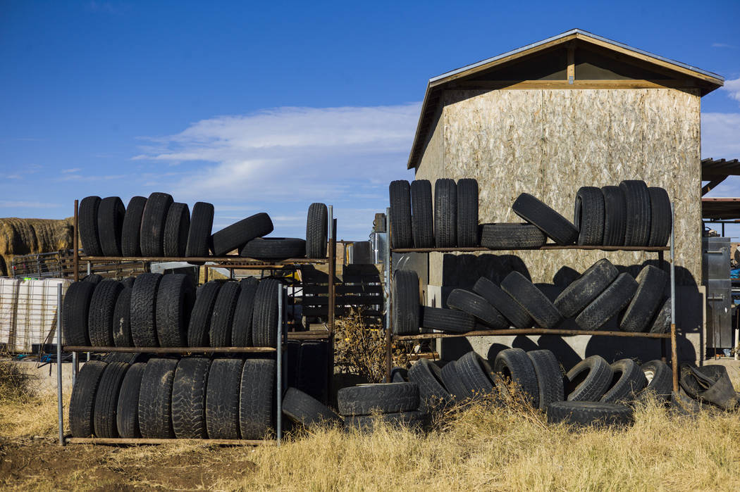 Tires stored at Bundy Ranch in Bunkerville on Thursday, Jan. 11, 2018. Bundy was released from federal custody after charges against him were dismissed in his trial. Chase Stevens Las Vegas Review ...