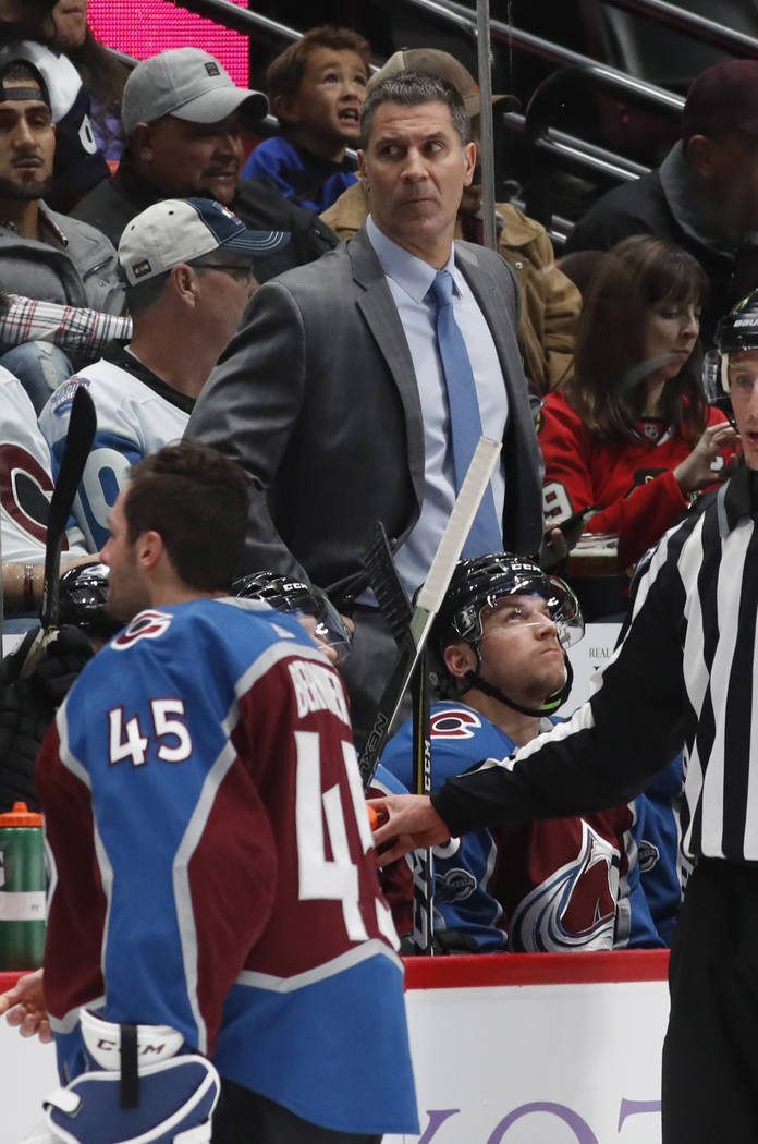 Colorado Avalanche head coach Jared Bednar in the second period of an NHL hockey game Saturday, Oct. 28, 2017, in Denver. (AP Photo/David Zalubowski)