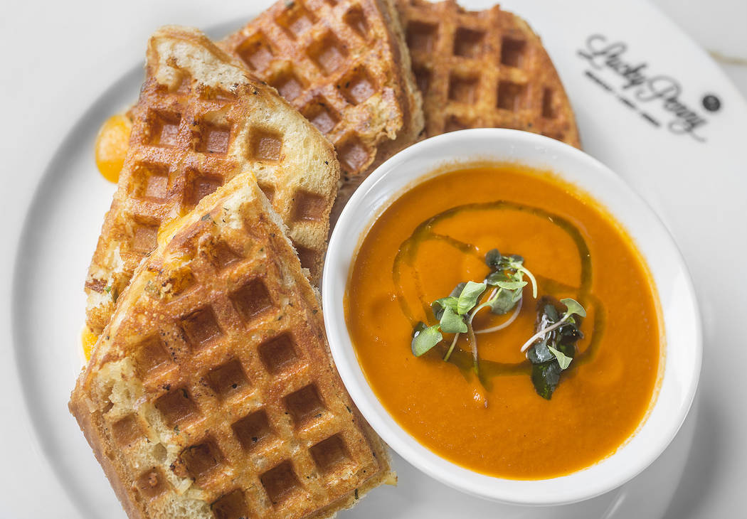 Waffle-grilled cheese with cheddar, swiss, parmesan, monterey jack and tomato soup at Lucky Penny on Monday, Dec. 18, 2017, in the Palms hotel-casino, in Las Vegas. Benjamin Hager Las Vegas Review ...