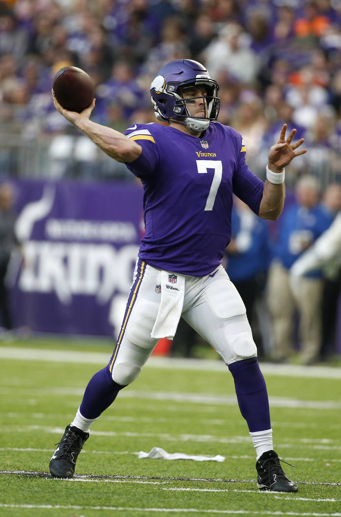 Minnesota Vikings quarterback Case Keenum throws a pass during the second half of an NFL football game against the Chicago Bears, Sunday, Dec. 31, 2017, in Minneapolis. (AP Photo/Bruce Kluckhohn)