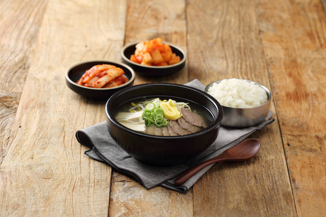 Garigukbap, beef brisket soup, served with kimchi, pickled daikon and white rice ($10). (Courtesy Take Studios)