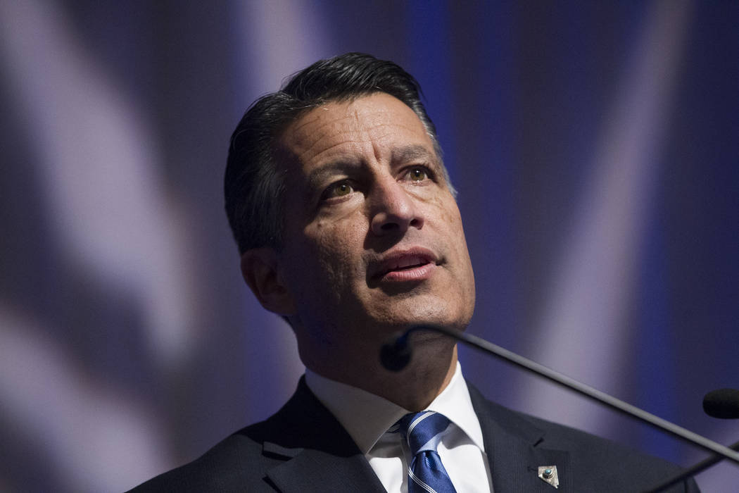 Gov. Brian Sandoval speaks during the Nevada Governor's Global Tourism Summit at the Flamingo hotel-casino in Las Vegas, Tuesday, Dec. 5, 2017. Erik Verduzco Las Vegas Review-Journal @Erik_Verduzco