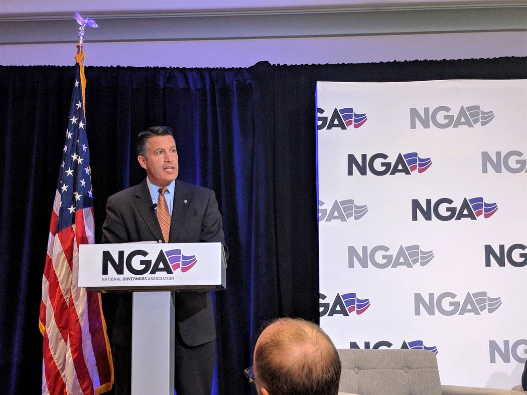 Nevada Gov. Brian Sandoval speaks during the Nevada Governors Association State of the States address at the Monte Carlo in Las Vegas on Friday, Jan. 12, 2018. Colton Lochhead/Las Vegas Review-Jou ...