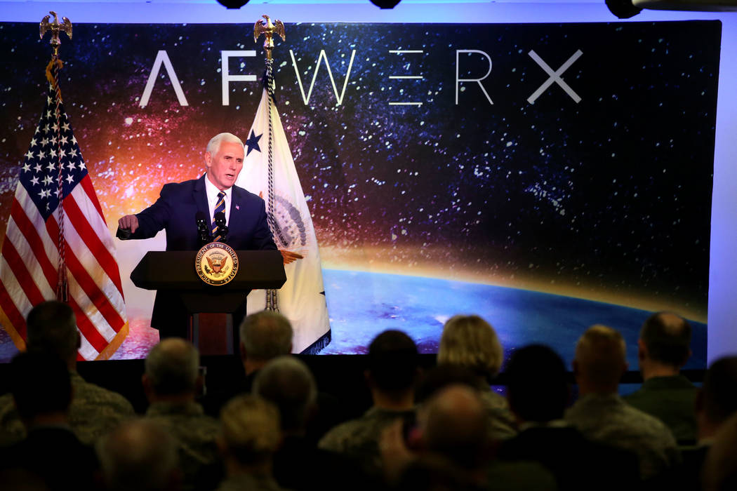 Vice President Mike Pence speaks at the grand opening of AFWERX Vegas, a work space for the Air Force program that fosters entrepreneurial innovation engagements. The innovation center is located  ...