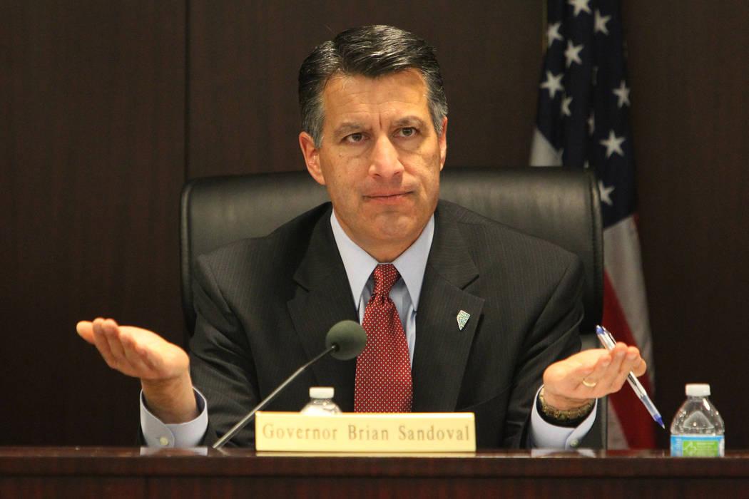 Nevada Gov. Brian Sandoval speaks during a Nevada Governor's Office of Economic Development board meeting in Las Vegas in 2015. (Las Vegas Review-Journal)